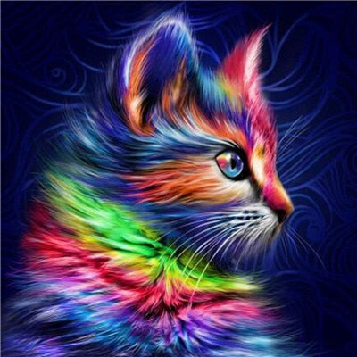 Colorful Illustrated Cat - 5d Diamond Painting Kit
