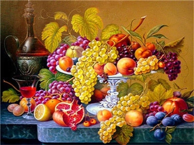 Table Covered With Fruit Art - 5d Diamond Painting Kit