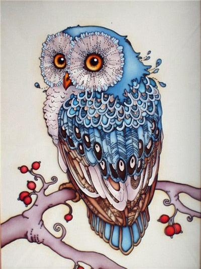 Embroidery Blue Owl - 5d Diamond Painting Kit