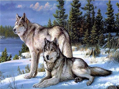 Wolves At Winter - 5d Diamond Painting Kit