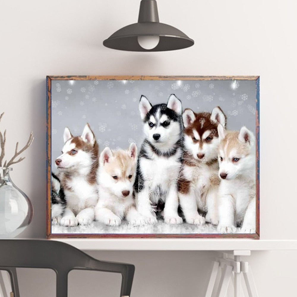 Huskey Puppies Illustration - 5d Diamond Painting Kit