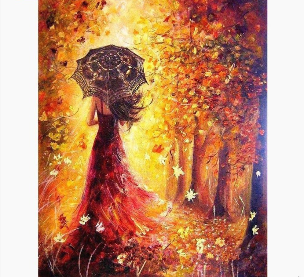 Colorful Autumn Lady - 5d Diamond Painting Kit