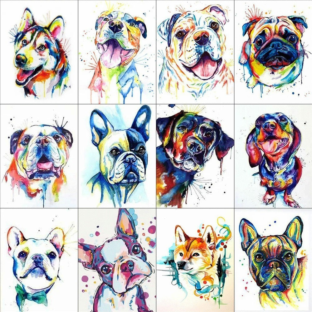 Different Dogs Illustration Set - 5d Diamond Painting Kit