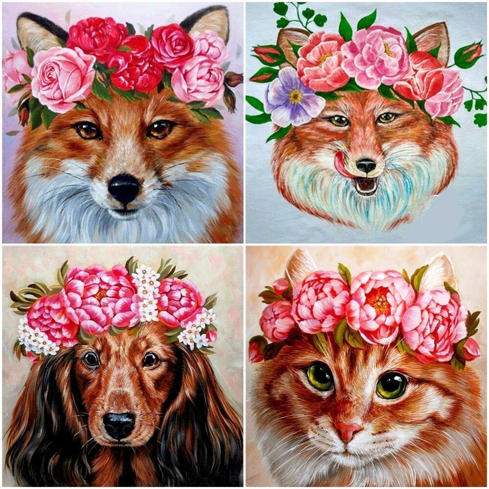 Animals With Flowers - 5d Diamond Painting Kit