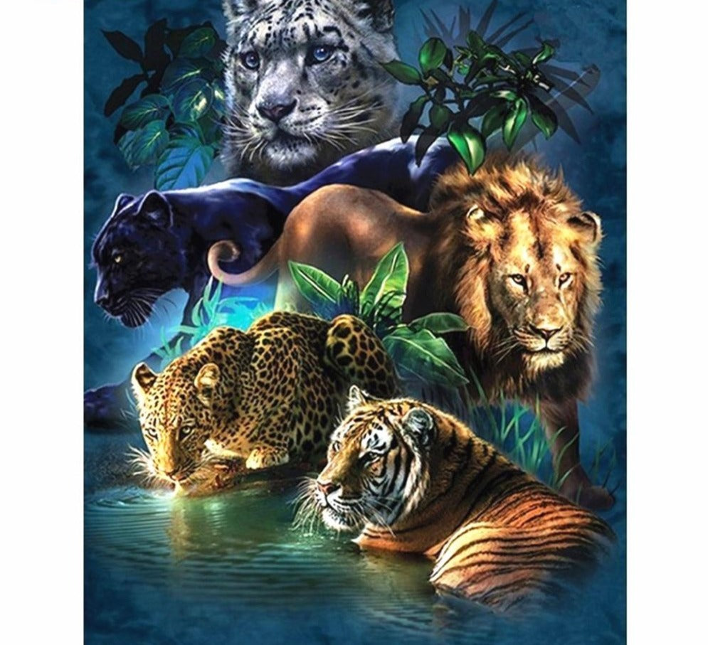 Jungle Predators Illustration - 5d Diamond Painting Kit