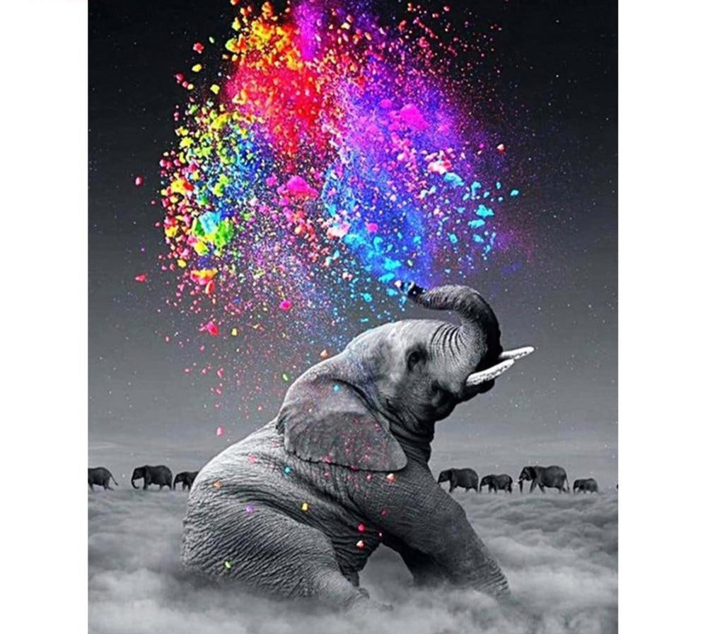 Elephant And Colorful Water - 5d Diamond Painting Kit