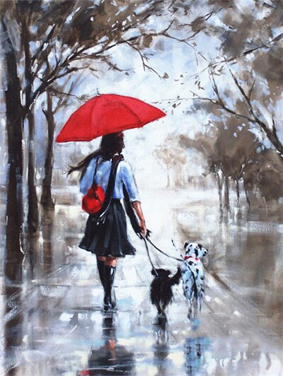 Woman Walking Rainy Day - 5d Diamond Painting Kit