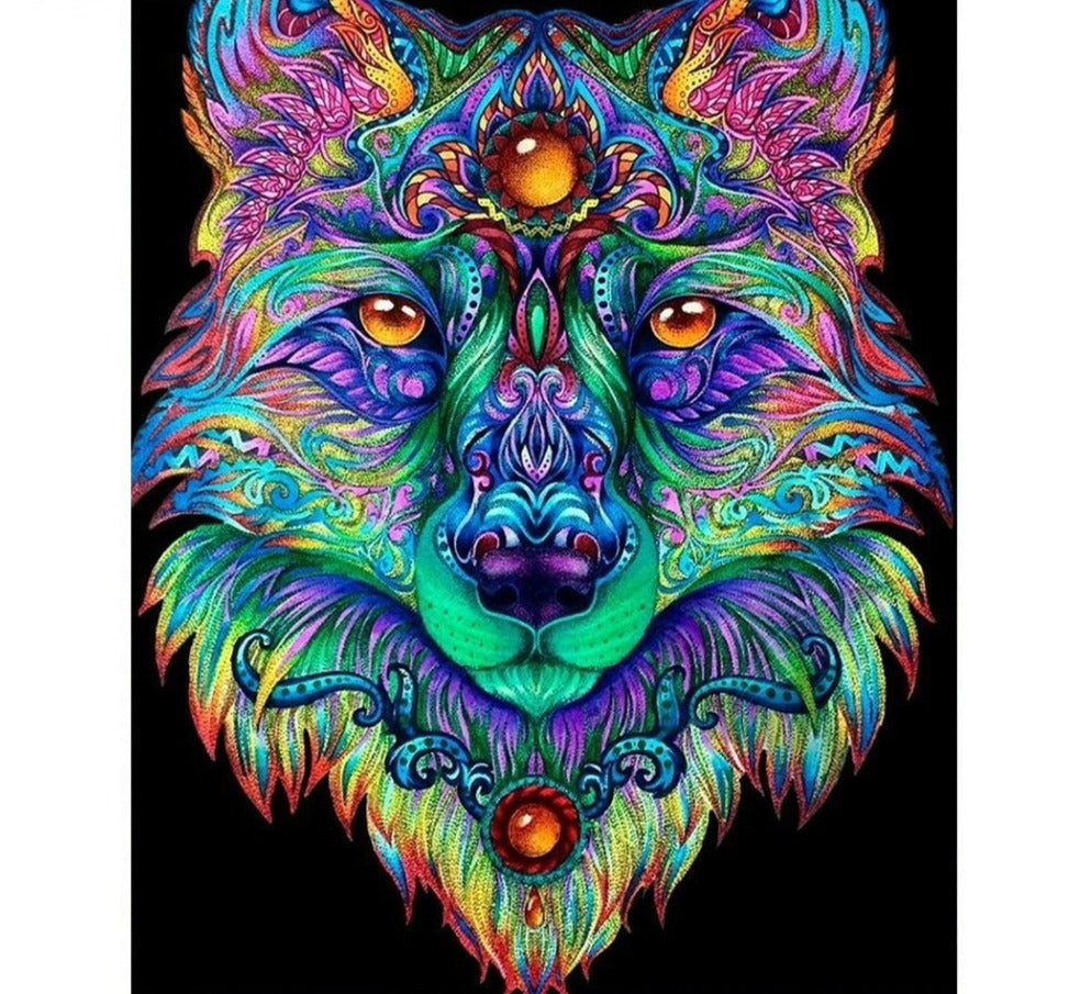 Abstract Mosaic Wolf - 5d Diamond Painting Kit