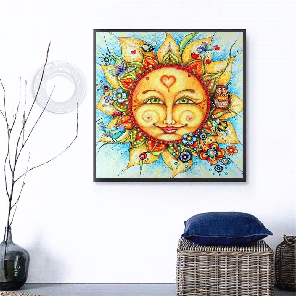 Full Square Sun Cartoon - 5d Diamond Painting Kit