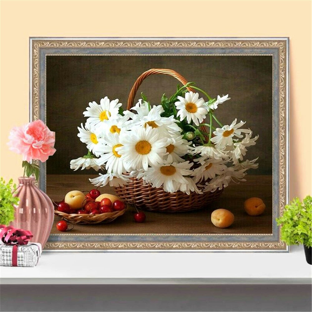 Flowers And Fruit Basket - 5d Diamond Painting Kit