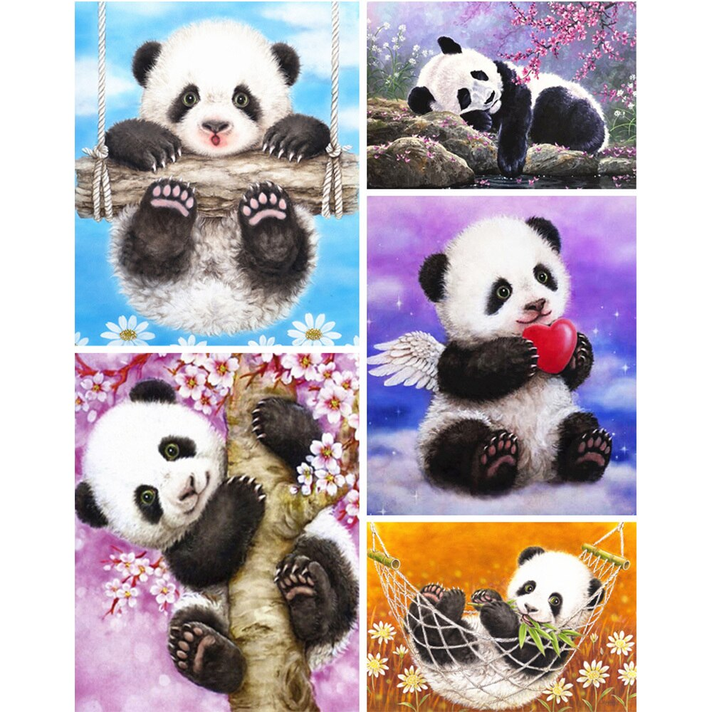 Panda Bear Illustration Set - 5d Diamond Painting Kit