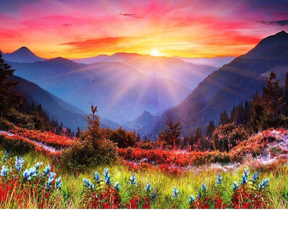 Sunset Over Hills - 5d Diamond Painting Kit