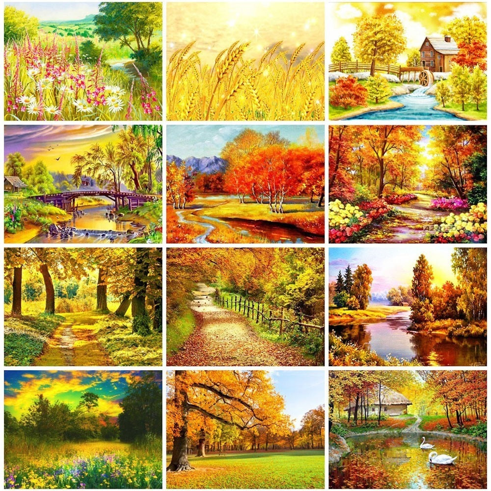 Mosaic Scenery Autumn - 5d Diamond Painting Kit