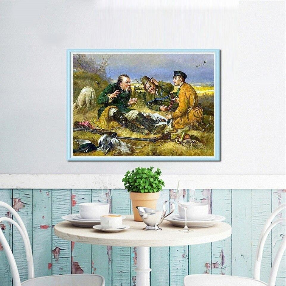 Vintage Hunters Illustration - 5d Diamond Painting Kit
