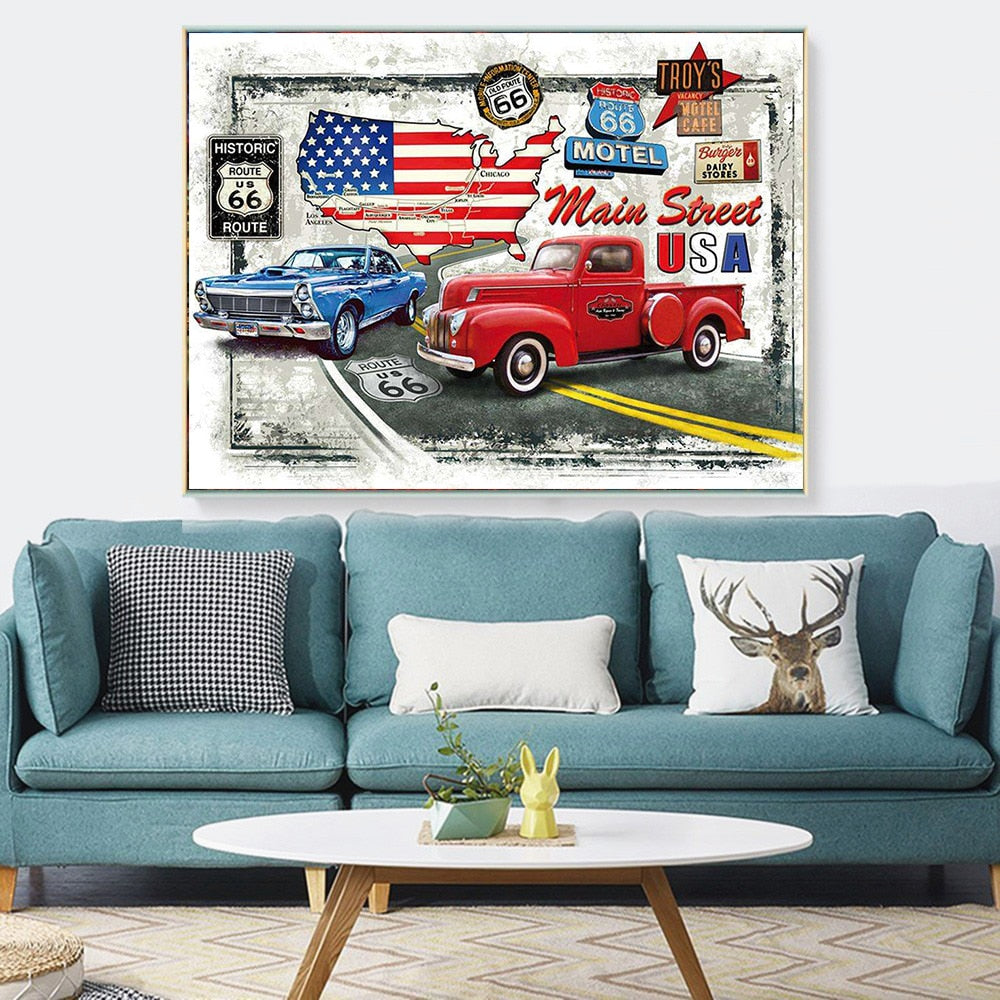 America Vintage Map Art - 5d Diamond Painting Kit