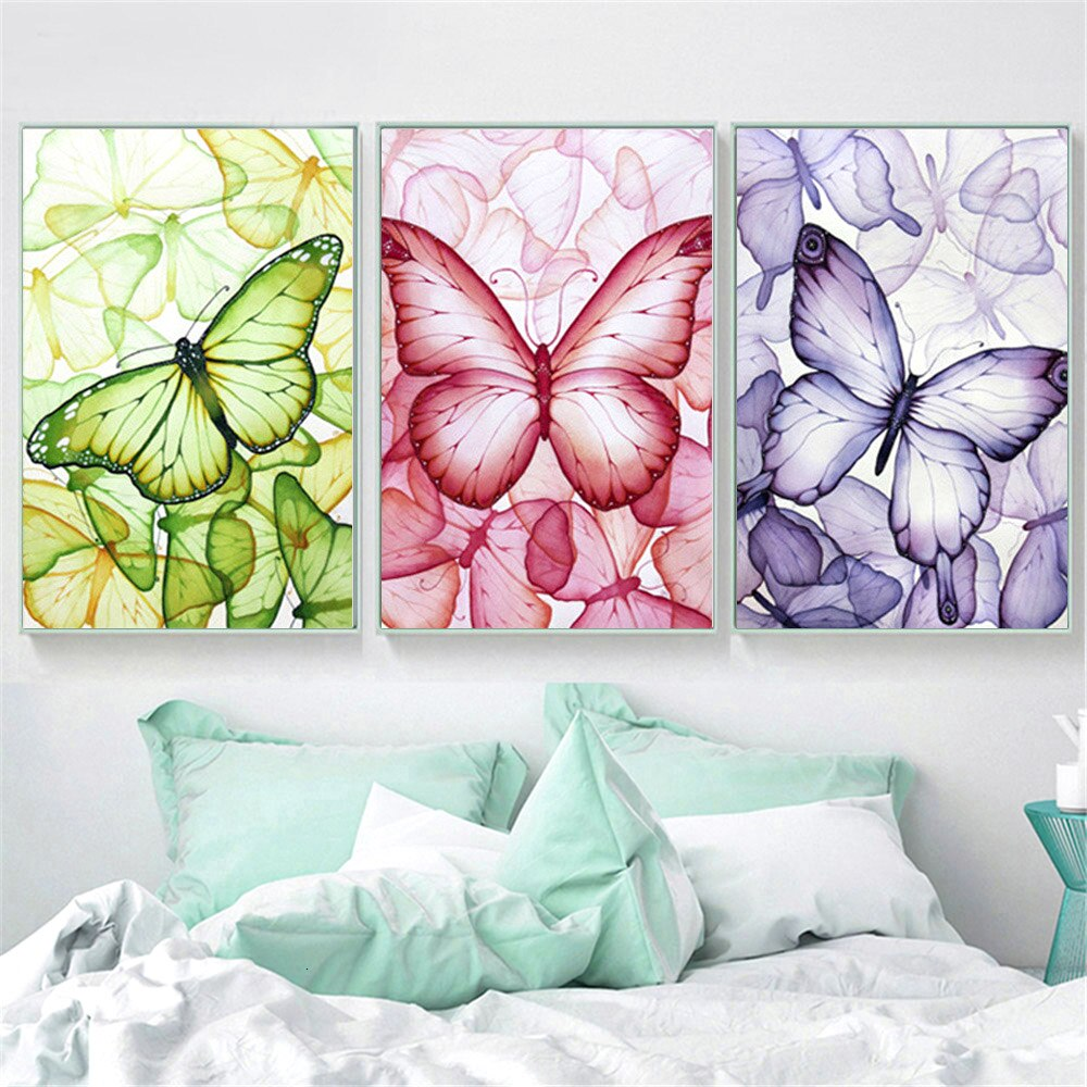Three Part Animated Butterflies - 5d Diamond Painting Kit