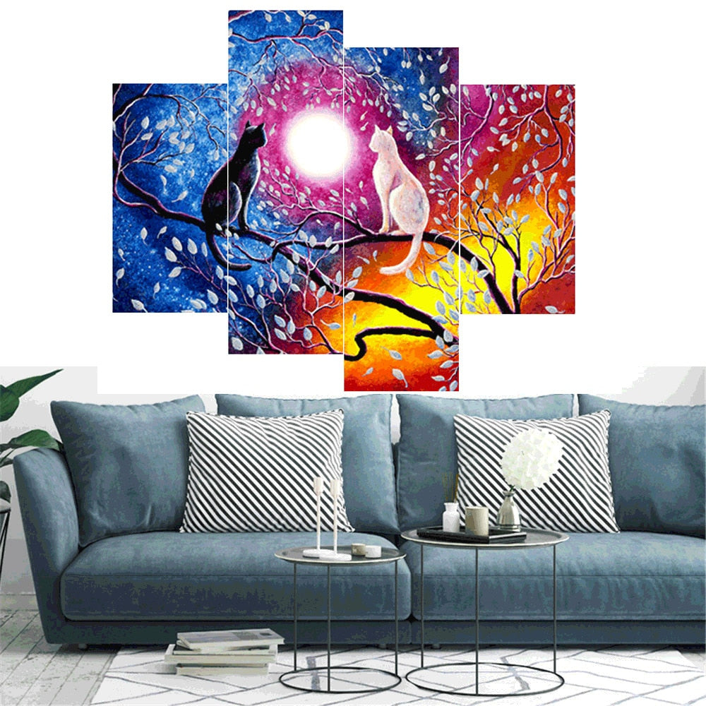 Multi Image Cats And Moon - 5d Diamond Painting Kit