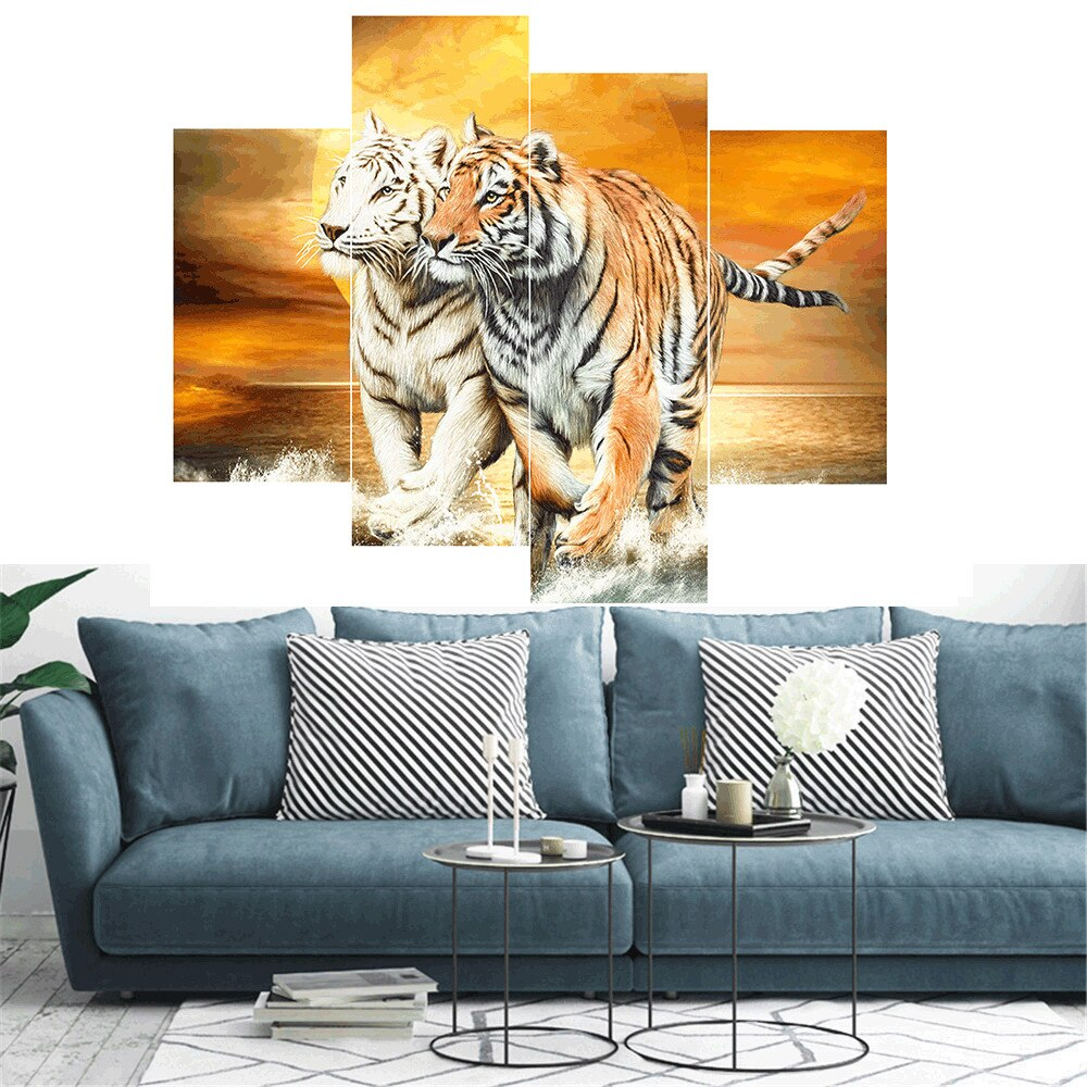 Multi Image Two Tigers - 5d Diamond Painting Kit