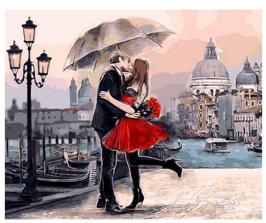 Couple Under Umbrella - Paint by Numbers Kit