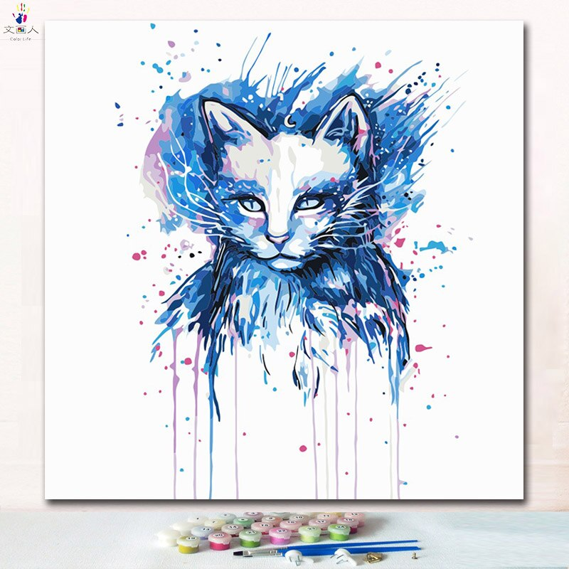 Watercolor Cat - Paint by Numbers Kits