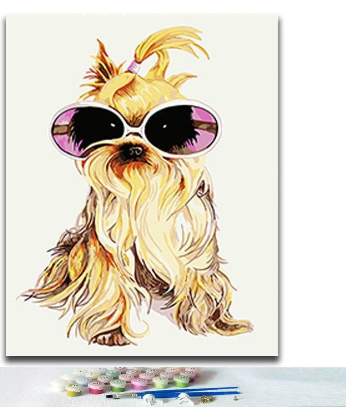 Dog With Glasses - Paint By Numbers Kit
