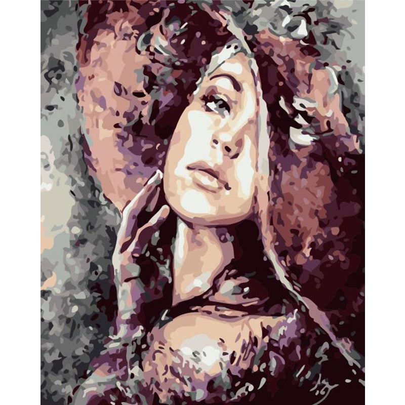 Purple Hat Woman - Paint By Numbers Kit
