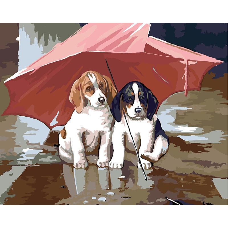 Puppies And Umbrella