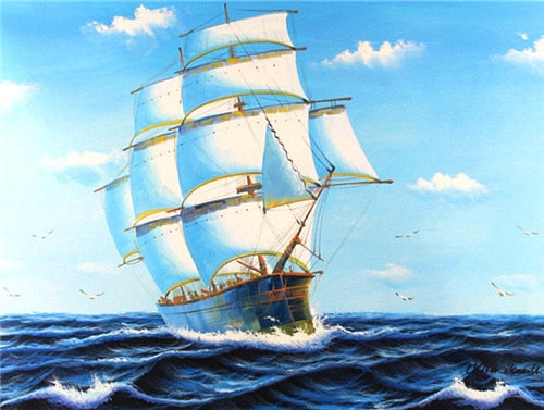 Ship Sea and Sunset - 5d Diamond Painting Kit