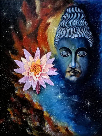Buddha And Flower Illustration - 5d Diamond Painting Kit