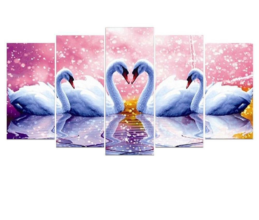 Mosaic Swan Embroidery - 5d Diamond Painting Kit