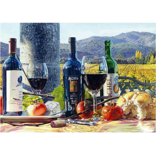 Wine And Fruit Set - 5d Diamond Painting Kit