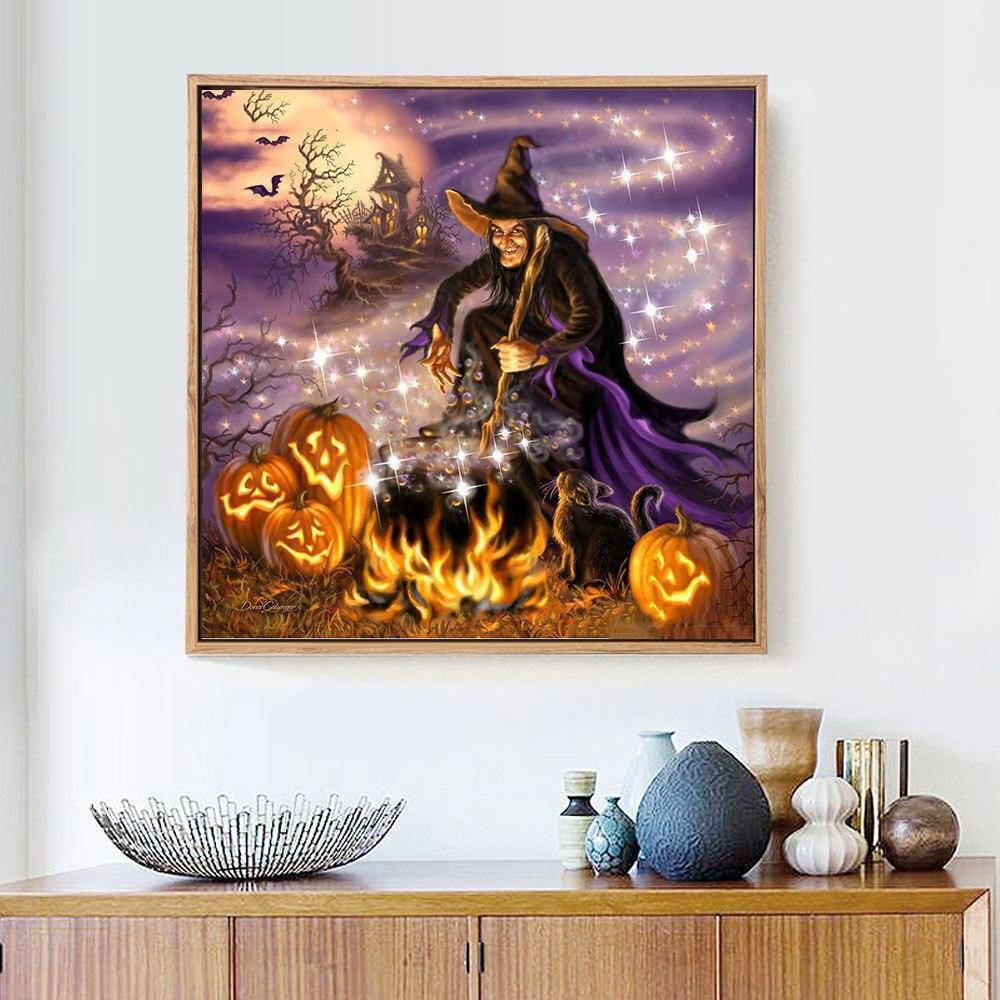 Witch At Halloween Night - 5d Diamond Painting Kit