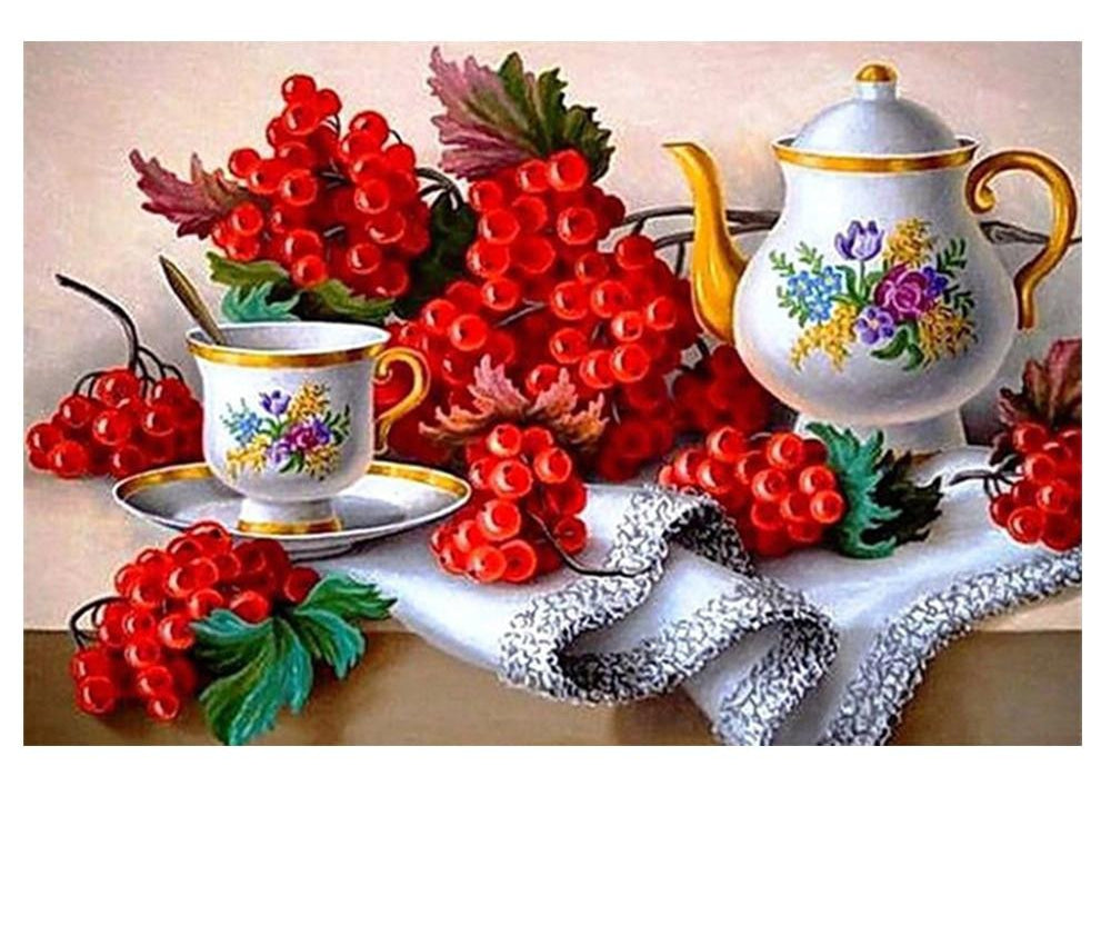 Berries And Tea Set - 5d Diamond Painting Kit