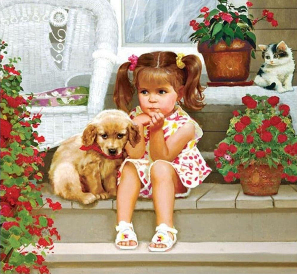 Girl Sitting With Puppy - 5d Diamond Painting Kit