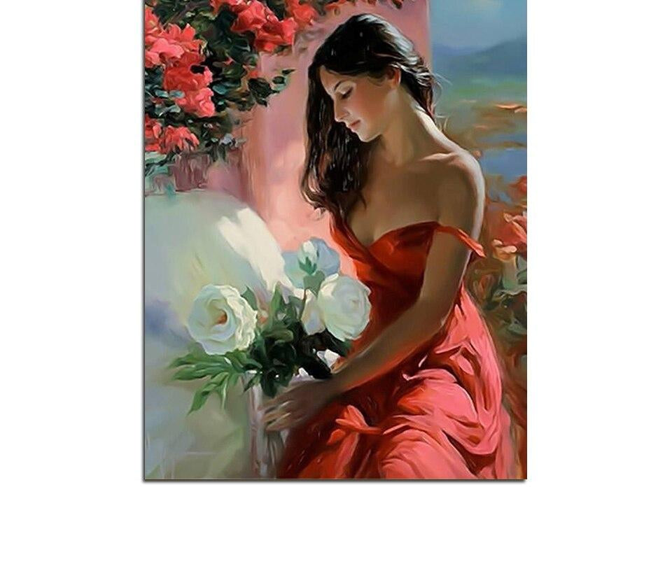 Beautiful Girl And Flowers - Paint By Numbers Kit