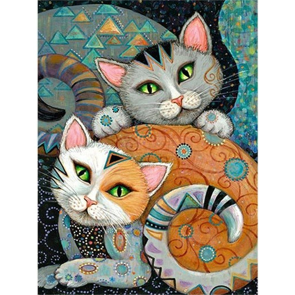 Animated Abstract Cats - 5d Diamond Painting Kit