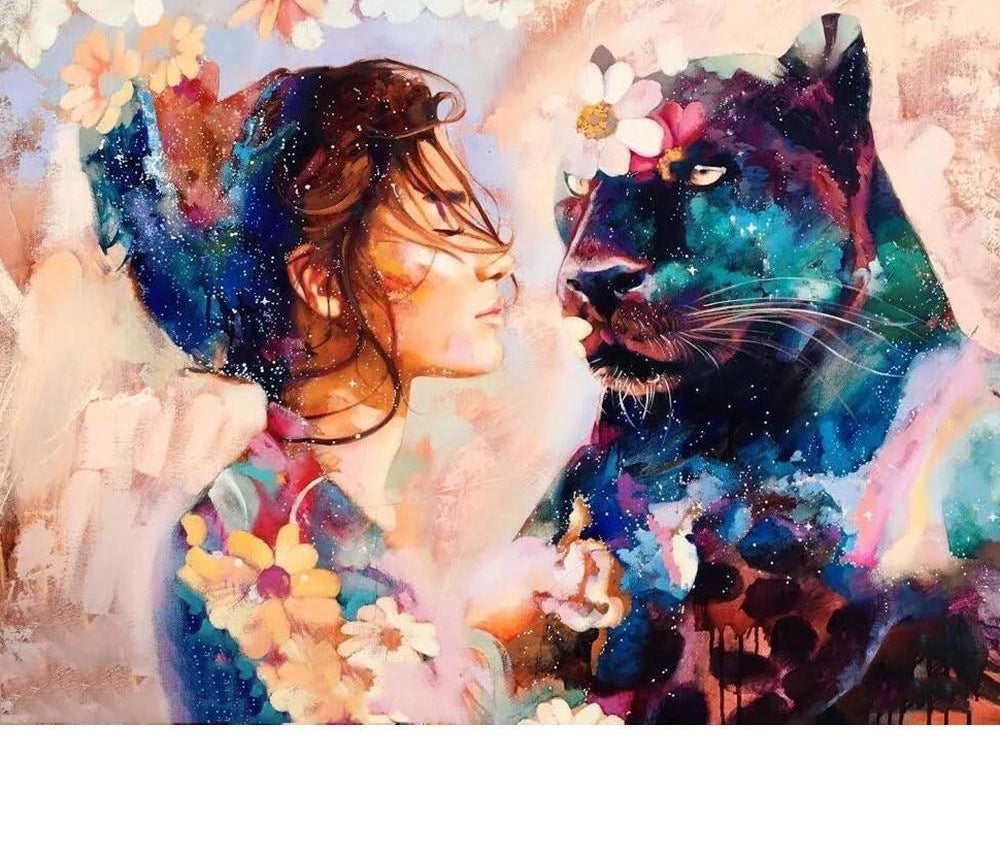 Woman And Panther - 5d Diamond Painting Kit