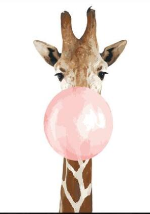 Bubble Gum Giraffe - Paint by Numbers