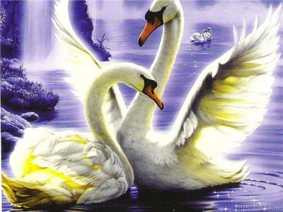 Swans And Lake - 5d Diamond Painting Kit