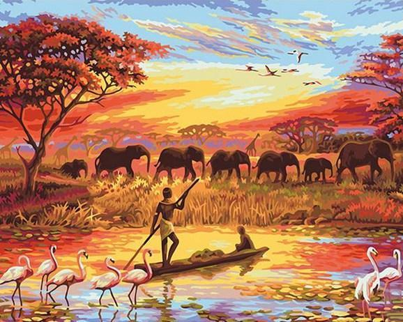 Elephant Sunset - Paint By Numbers