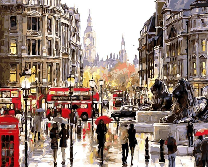 Rainy London Street - DIY Paint By Numbers