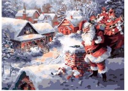 Santa Claus on the Roof - Paint by Numbers Kits
