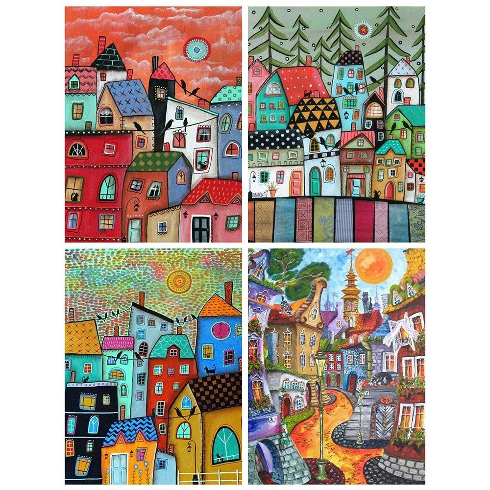 Abstract City Life Scenery - 5d Diamond Painting Kit