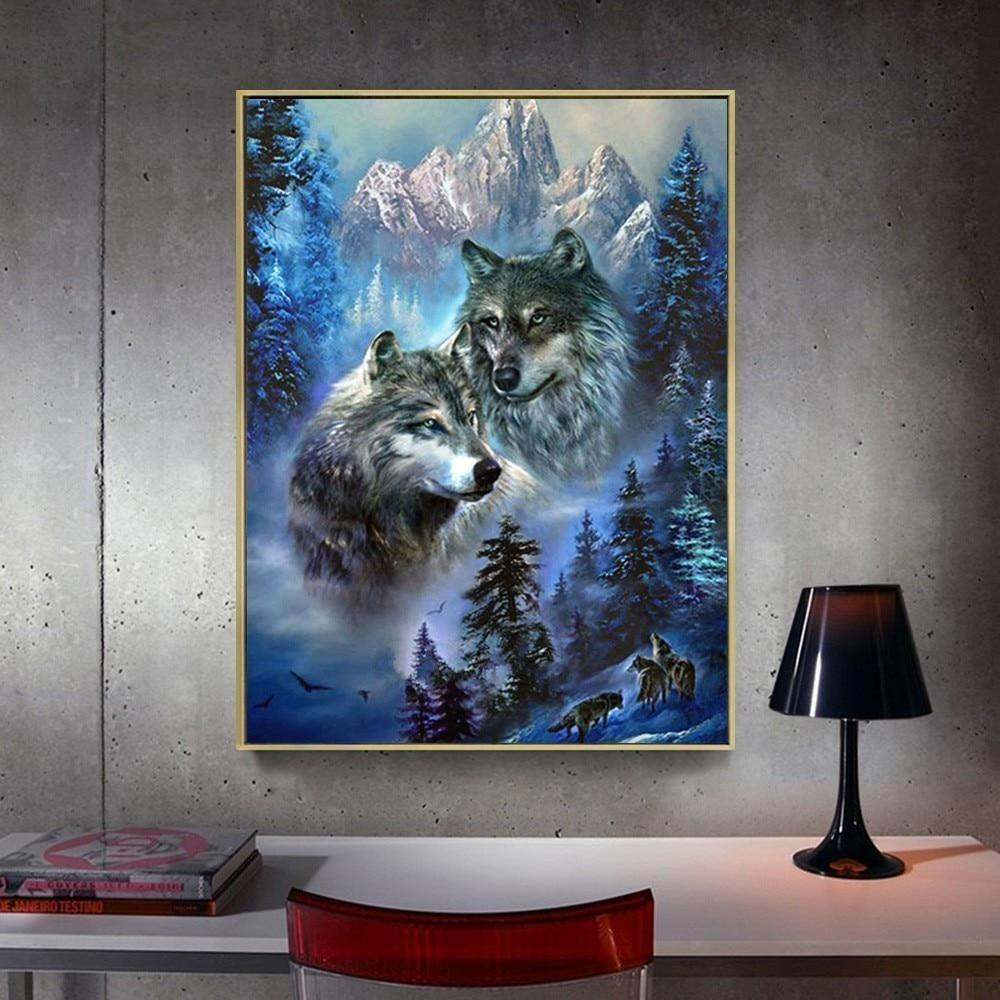 Wolves And Mountain Landscape - 5d Diamond Painting Kit