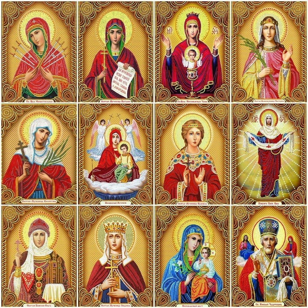 Different Religious Collage Art - 5d Diamond Painting Kit
