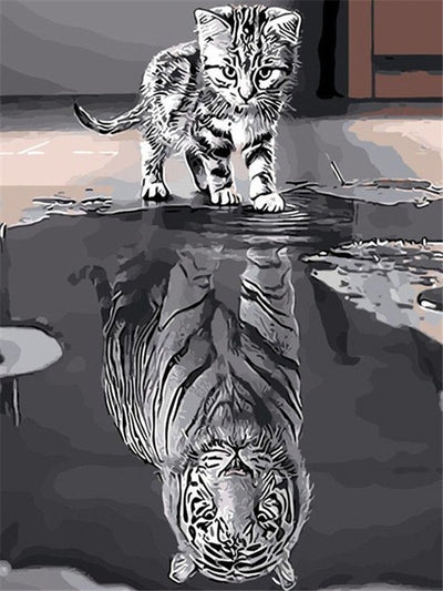 Cartoon Fox Reflection - 5d Diamond Painting Kit
