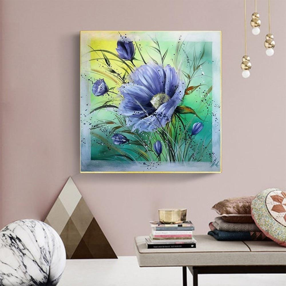 Blue Flower In Blurry Nature - 5d Diamond Painting Kit