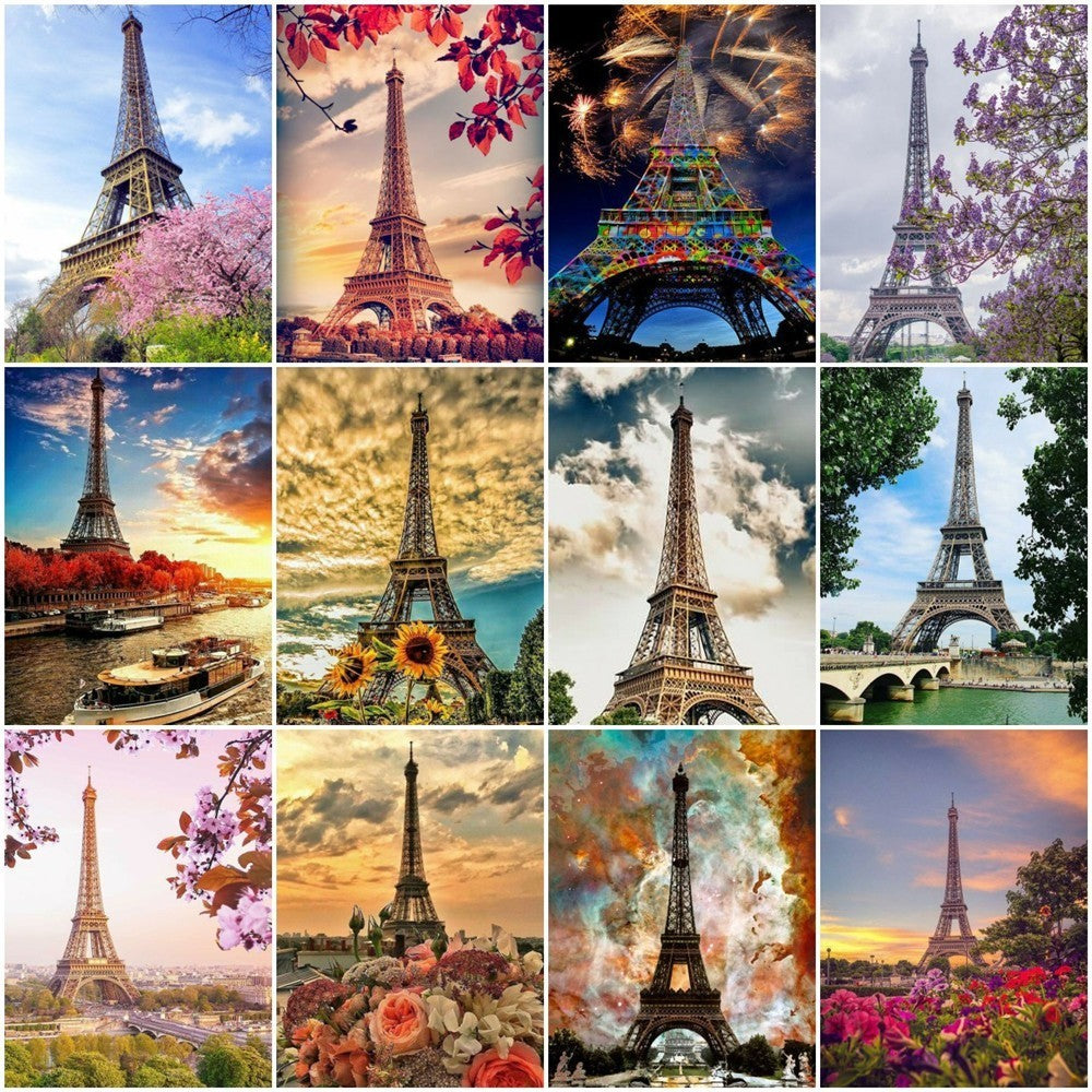 Different Eiffel Tower Collage Set - 5d Diamond Painting Kit