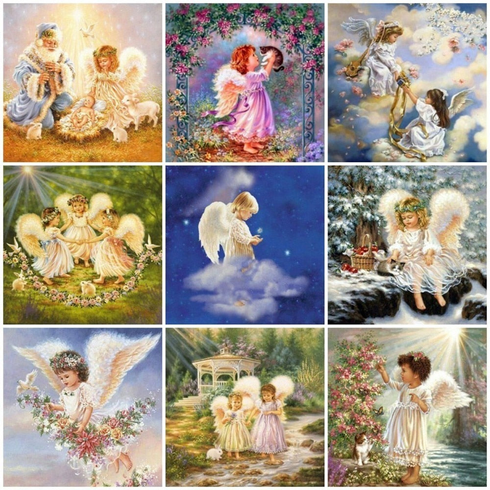 Child Angels Playing Collage - 5d Diamond Painting Kit