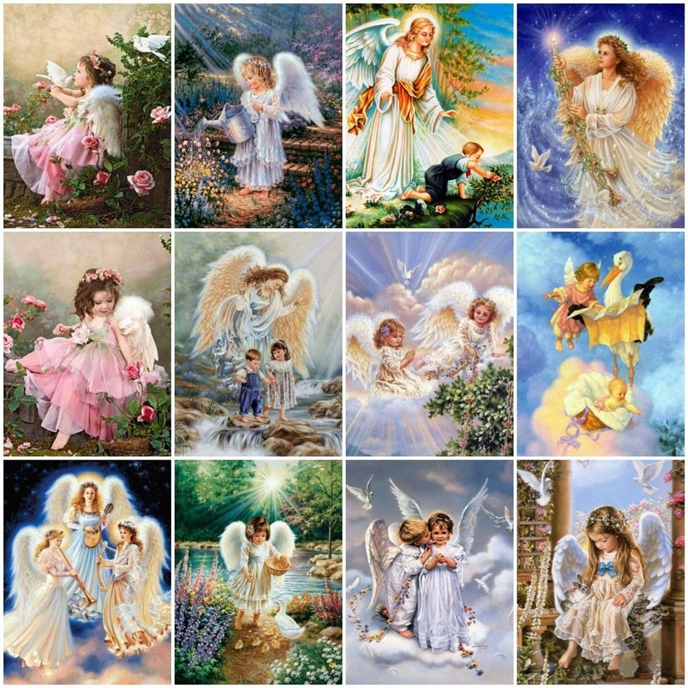Child Angel Illustration Set - 5d Diamond Painting Kit